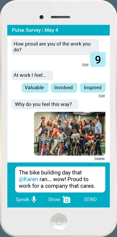 The Joyous mobile employee feedback interface